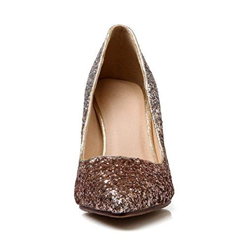 Amoonyfashion Mujeres Lentejuelas Sólido Tire En Punta Puntiaguda Pies Cerrados Bombas Stilettos Zapatos Oro