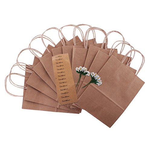 Jili Online 12pcs Especially for You Calla Flower Party Kraft DIY Gift Bag Wedding Recyclable Shopping Strong Loot Bags - Brown, as described