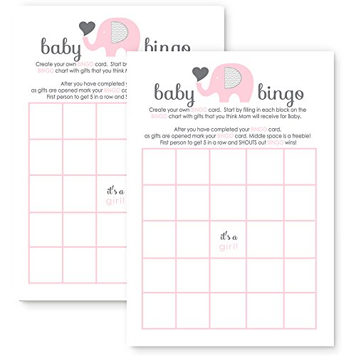 Pink Elephant Baby Shower Bingo Game Cards - Set of 25 by Paper Clever Party