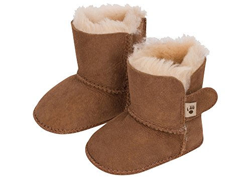BEARPAW Kids Women's Cottonwood (Infant), Chestnut/Natural, SM (0-6 Months) - Cottonwood Kids
