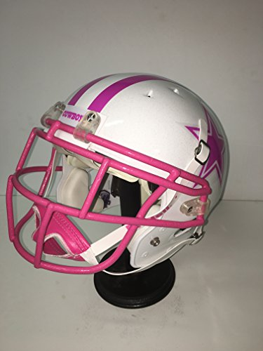 (Rare New Dallas Cowboys Professional, Custom Designed & Painted White & Pink Football Helmet! Breast Cancer)