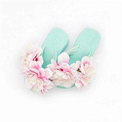 Vert Roses Plate Forme Coin Dames De Pantoufle Orteil Sandales Clip Occasionnels Été Chaussures Tongs Et pour Vacances 5 en Femme on Slip De des avec 5 Filles Talon Cm Fleurs Confortable Plage qWqPwFB7nx