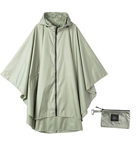 Womens Rain Poncho Waterproof Raincoat with Hood Zipper Outdoor Hiking Biking (Wasabi - Jacket Wasabi