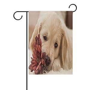 "ONEERA Funny Cute Dog Weatherproof Polyester House Flag 28"" x 40"" Seasonal Garden Banner"