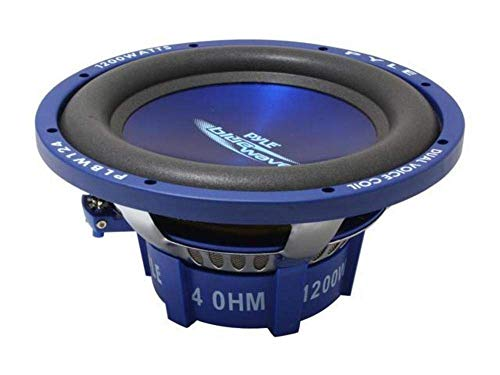 Car Vehicle Subwoofer Audio Speaker – 12 Inch Blue Injection Molded Cone, Blue Chrome-Plated Steel Basket, Dual Voice Coil 4 Ohm Impedance, 1200W Power For Vehicle Stereo Sound System – Pyle PLBW124