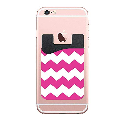 Magenta Print Unit - Card Holder for Back of Phone 2 Pack - Magenta Hot Pink Chevron Print Slim Stick on Cell Phone Wallet with Pocket for ID, Business Card