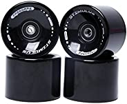 FREEDARE 70mm Longboard Wheels with ABEC-7 Bearings and Spacers (Set of 4)