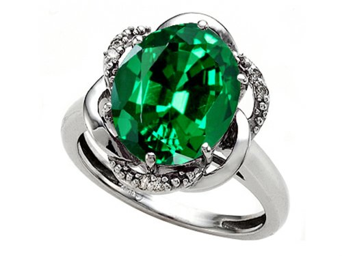 12x10mm Oval Ring Setting - Tommaso Design Oval 12x10mm Simulated Emerald Ring 14 kt White Gold Size 6.5