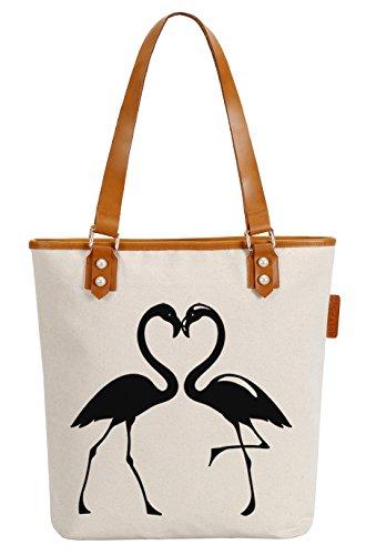 Flamingos Soeach Bag Shoulder Pearly Handle Canvas Tote Womens Love Top q6wCfS6
