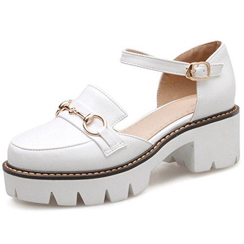 COOLCEPT Mujer Moda Correa de Tobillo Sandalias Cerrado Ancho Alto Zapatos Blanco