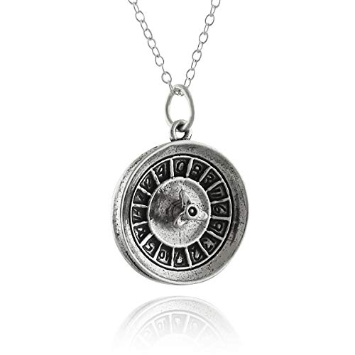 FashionJunkie4Life Sterling Silver 3D Casino Gambling Roulette Wheel Charm Necklace, 18