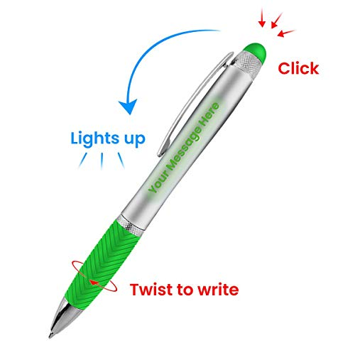 (Customized Pen Free Laser Engraving - 3 In Ballpoint Pen, Stylus and Light Up Personalized Area - Custom Name, Logo or Gift Message - Velvet Gift Pouch -Green - By SyPen)