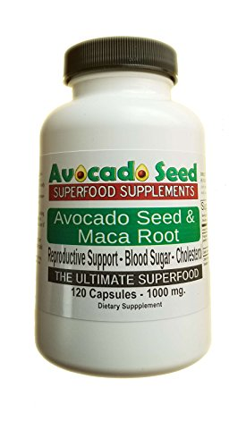 120 Avocado Seed with Maca Root Capsules (1000 mg) - The Ultimate Supplement for Reproductive Support, Weight Loss, Digestion, Stomach Bacteria, Vitality and More