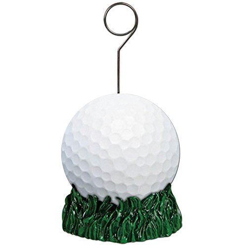 Pack of 6 Green and White Golf Ball Photo or Balloon Holder Party Decorations 6 oz. ()