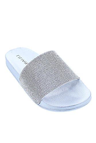 Genx Femmes Glitter Strass Diapositive Sandale Chaussures Slipper Blitz-1 Argent
