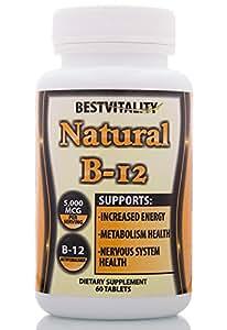 BestVitality Vitamin B-12 Methylcobalamin (Methyl B12) 5000 MCG with Guide - 60 Tablets