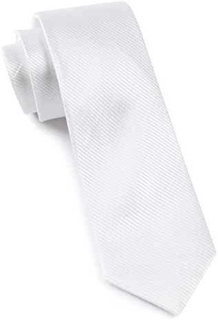 The Tie Bar 100% Woven Silk White Skinny Tie