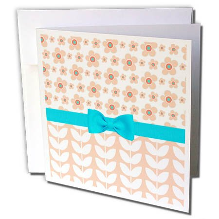 3dRose Anne Marie Baugh - Patterns - Cute Peach Flowers Over Vine Leaves With A Light Blue Bow - 12 Greeting Cards with envelopes (Vine 12 Light)