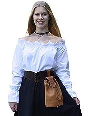Battle-Merchant Middeleeuwse carmenblouse met lange mouwen van katoen voor dames | schoudervrije boho blouse met lange mouwen S-XXL | Halloween carnaval kostuum