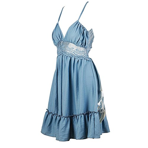 Vestitino Schienale Abito Fantasia Pizzo Vestito Blu Mini Partito Senza Corto da Senza Donna Mare Maniche Sera con Banchetto Spiaggia Copricostume 0XqRxwnU