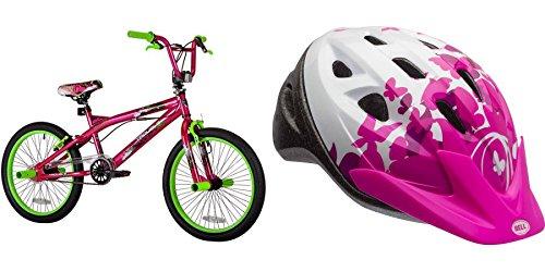 20'' Kent Trouble BMX Pink/Green Girls' Bike with Bell Sports Rally Flutter Child Helmet, Pink White by Kent/BellSports