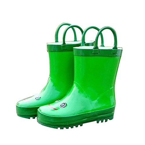 Cute Starry Kids' Rain Boots Green Frog
