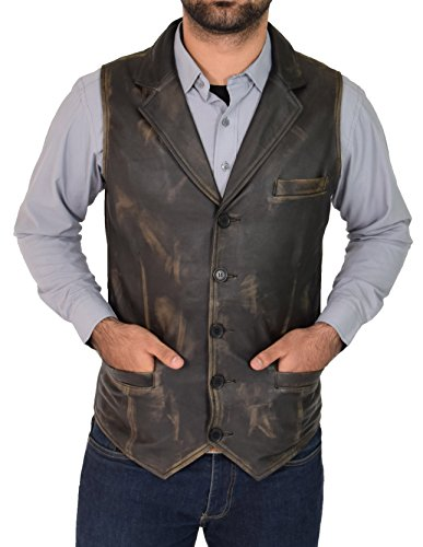 A1 FASHION GOODS Mens Genuine Vintage Rub Off Soft Leather Revere Collar Western Waistcoat - Rhys - Collar Revere