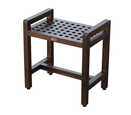Contemporary Teak Shower Stool- 20- Espalier Lattice Grate Pattern- Adjustable Height Foot Pads by Decoteak   B009I8IKKM