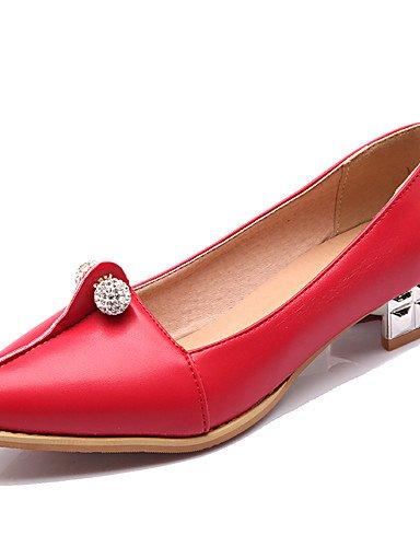 GGX/ Damenschuhe-High Heels-Büro / Lässig-PU-Niedriger Absatz-Komfort / Spitzschuh-Schwarz / Rot / Weiß red-us7.5 / eu38 / uk5.5 / cn38