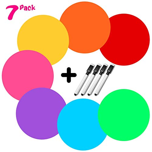 All Summer 7 Pack Dry Erase Dot Stickers White Board Marker Removable Vinyl Dots Circles for Teaching and Kids Spelling (7 Pack with 4 Pieces Markers)