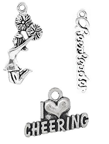 - Cheerleading Charms, Cheer and School Spirit 110 Pieces (50 Pom Girl, 30 Cheerleader, 30 Love Cheering)