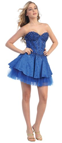 US Fairytailes Strapless Fancy Cocktail Party Junior Prom Dress #2578