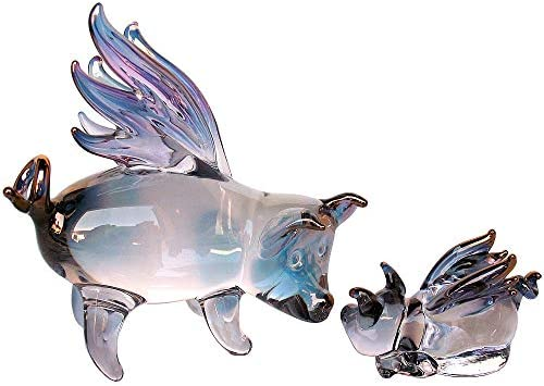 Prochaska Gallery Hand Blown Glass Flying Pig Mother and Baby Figurines