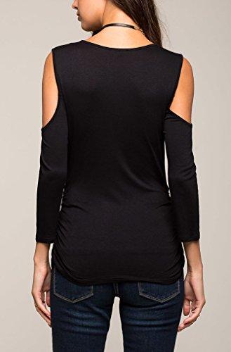 Donna T Shirt Vintage Manica Lunga Spalla Scoperta V Scollo Zip Eleganti Lunga Basic Puro Colore Estate Maglie A Manica Lunga Camicia Tunica