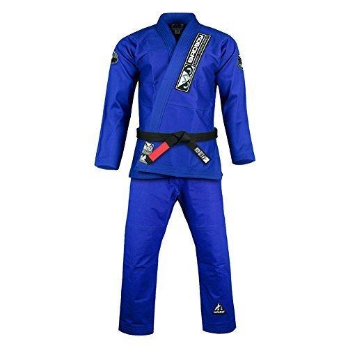 Bad Boy BJJ Gi Pro Series Pearl Weave 450gsm Preshrunk Cotton Jacket 10oz Ripstop Pants Competition Light BJJ Brazilian Jiu Jitsu Gi Blue - A2