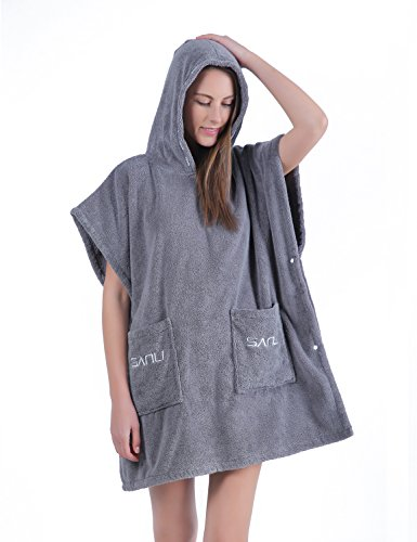 Terry Cloth Bath Robes Short Batwing Sleeve Cotton Towel Wrap Knee Length Bath Shower Spa Terry Cover Up, L Gray ()