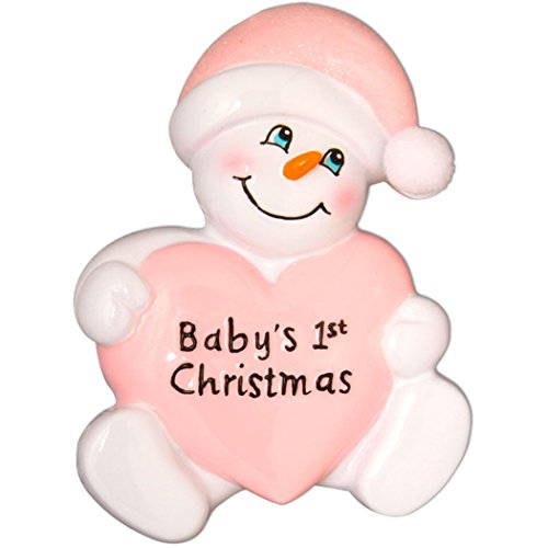 Personalized Baby's 1st Christmas Snowbaby Tree Ornament 2019 - Snowman Holds Pink Heart Glitter Hat Girl First New Mom Shower Grand-Daughter Kid Child Carrot Nose Gift Year - Free Customization
