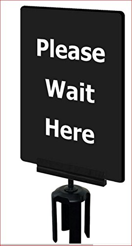 11'' x 7'' Acrylic Sign Frame for Tensabarrier Post Type of Sign: Please Wait Here / Black / White writing by Tensator