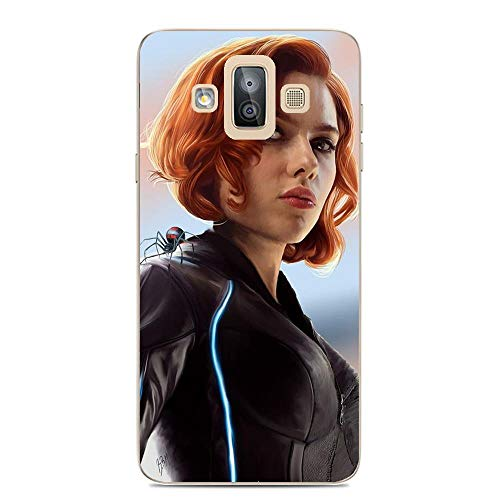 Galaxy J7 Duo Case,Transparent Soft TPU Protective Cover for Samsung Galaxy J7 Duo-Black Widow 1