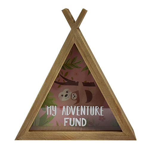 Xpressions Sloth Wooden Money Box My Adventure Fund - Fun Lazy Animal Design - Piggy Bank