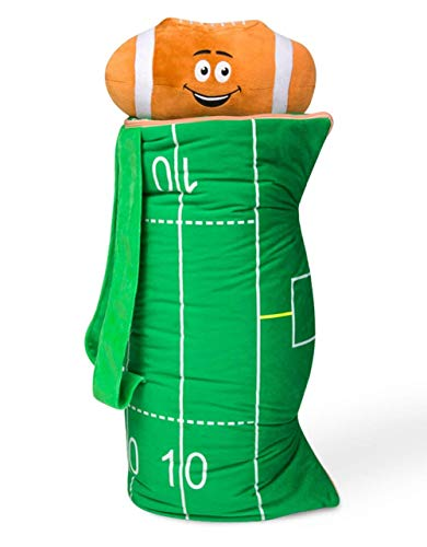 - BuddyBagz Football, Super Fun & Unique Sleeping Bag/Overnight & Travel Kit for Kids, All in 1 Traveling-Made-Easy Solution Complete with Stuffed Animal, Pillow, Sleeping Bag & Overnight Bag