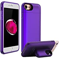 iPhone 7 Battery Case | 3000mAh Ultra Slim Extended Battery Backup Case Charger Pack Power Bank for iPhone 7 (2016) - 4.7 inch Black [Fit IPhone 6s] (Purple)