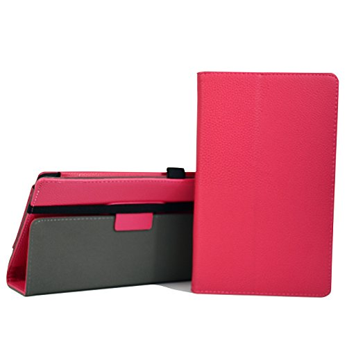 HDE Case for All-New Amazon Fire HD 8 Tablet (7th Generation, 2017 Release) with Included Screen Protector - Leather Folio Protective Cover Stand for Fire HD 8 2017 (Hot Pink) -