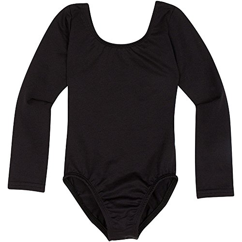Black Two Piece Dance Costumes - Toddler and Girls Leotard for Dance, Gymnastics and Ballet with Long Sleeve Black XS (2-3T)