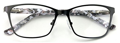 - Stainless Steel Non-prescription Glasses Frame Clear Lens Metal Eyeglasses With Plastic Acetate Temple (Grey)