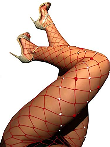 Women's Sexy Crystal Rhinestone Suspender Pantyhose Tights Fishnet Diamond Stretchy Stockings Bling Hosiery -