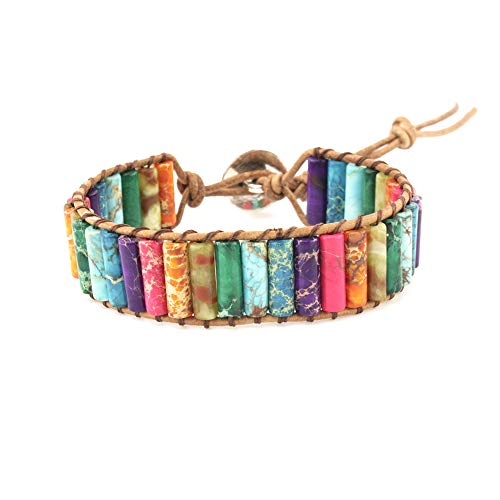 IUNIQUEEN Women Handmade Leather Imperial Jasper Bead Wrap Bracelet Jewelry
