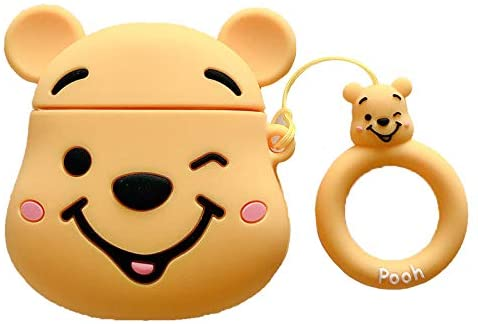 Yellow iFiLOVE Compatible with Airpods Case Girls Boys Kids 3D Winnie The Pooh Cute Cartoon Soft Silicone Protective Shockproof Case Cover with Ring Holder for Apple Airpods 1 /& 2 Charging Case