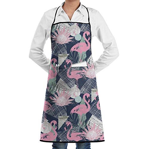 NiYoung Apron with Pocket Men and Women Kitchen Apron for Cooking/Baking/Crafting/Gardening & BBQ - Pink Flamingo and Leaves