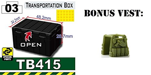 Free Black TB415 Military Transit Box compatible with toy brick minifigures